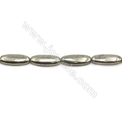 Natural Pyrite Beads Strand  Flat Oval   Size 10x25mm  Hole 1mm  about 16 beads/strand 15~16""