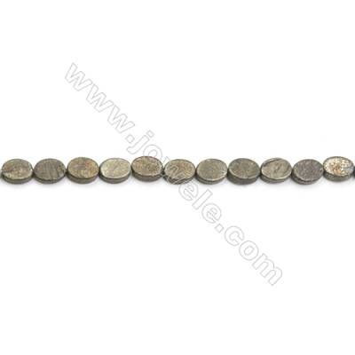 Natural Pyrite Beads Strand  Flat Oval   Size 6x8mm  Hole 0.6mm  about 50 beads/strand 15~16""