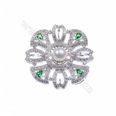 Sterling silver  platinum plated CZ brooches-83981 39x39mm x 2pcs disc diameter 7mm small needle diameter 0.8mm