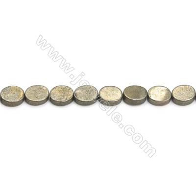 Natural Pyrite Beads Strand  Flat Oval   Size 8x10mm  Hole 0.8mm  about 39 beads/strand 15~16""