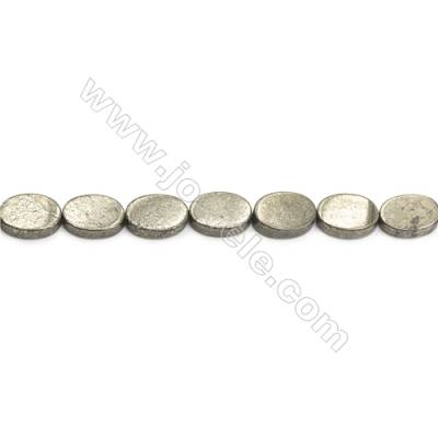 Natural Pyrite Beads Strand  Oval   Size 10x14mm  Hole 1mm  about 29 beads/strand 15~16""