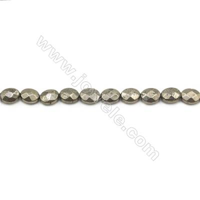 """Natural Pyrite Beads Strand  Faceted Oval   Size 8x10mm  Hole 0.8mm  about 40 beads/strand 15~16"""""""