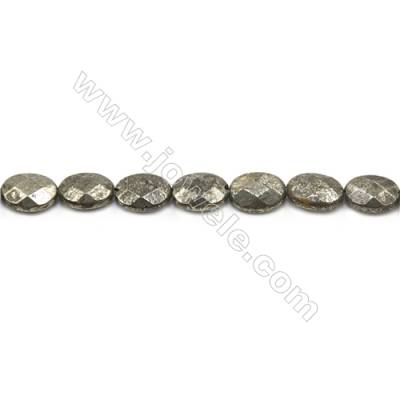 """Natural Pyrite Beads Strand  Faceted Oval   Size 10x14mm  Hole 1mm  about 28 beads/strand 15~16"""""""