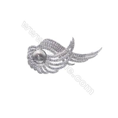 925 sterling silver platinum plated CZ brooch-XZ0016 22x39 mm x 5 pcs disc diameter 7mm small needle diameter 0.7mm