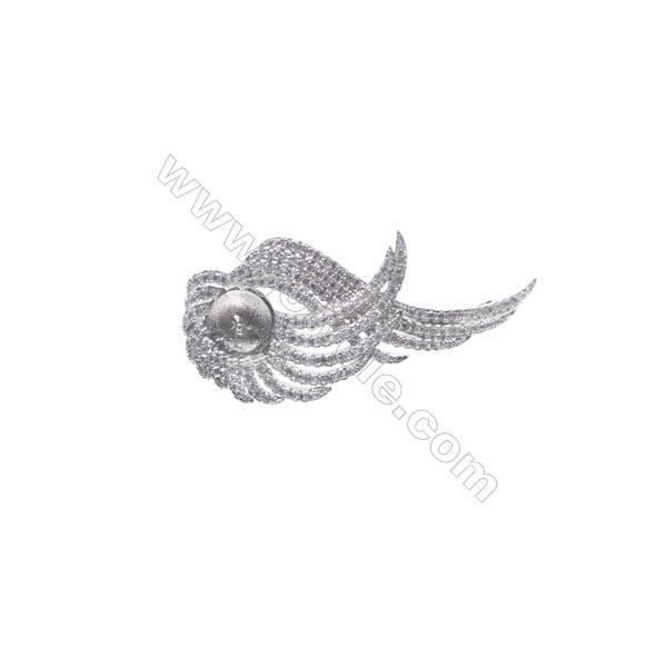 925 sterling silver platinum plated CZ brooch-XZ0016 22x39 mm x 5 pcs disc diameter 7mm small needle diameter 0.7mm