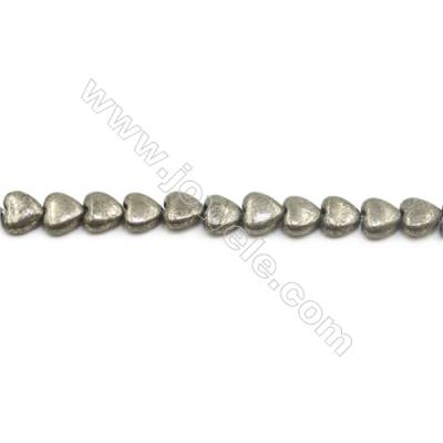 """Natural Pyrite Beads Strand  Flat Heart   Size 8x8mm  Hole 0.8mm  about 56 beads/strand 15~16"""""""
