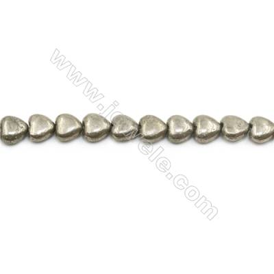 Natural Pyrite Beads Strand  Flat Heart   Size 10x10mm  Hole 1mm  about 43 beads/strand 15~16""