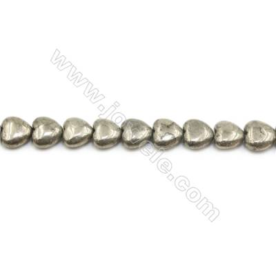 Natural Pyrite Beads Strand  Flat Heart   Size 12x12mm  Hole 1.5mm  about 36 beads/strand 15~16""