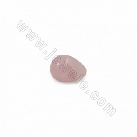Natural Rose Quartz Half-drilled Beads, Teardrop, Size 15x19mm, Hole 1.2mm, 1piece