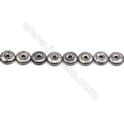 Natural Pyrite Beads Strand  Donut   Diameter 14mm  Hole 0.8mm  about 28 beads/strand 15~16""