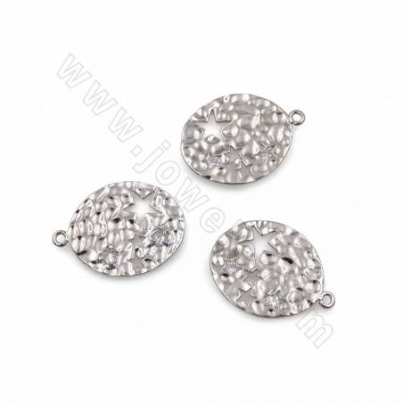 CZ Brass Earring Pendants, Platinum Plated, Size 21x27mm, Thick 1mm, Hole 1.1mm, 50pcs/pack