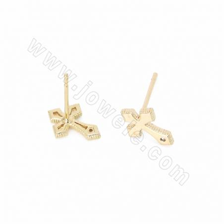 Brass Stud Earrings, Gold Plated, Cross, Size 9x10mm, Pin 0.7mm, 50pcs/pack