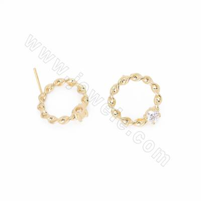 CZ Brass Stud Earrings,...