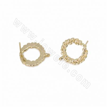 Brass Stud Earring Findings, Wreath, Gold Plated, Size 16x15mm, Pin 0.7mm, Hole 1mm, 60pcs/pack