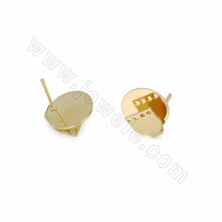 Brass Stud Earring Findings, Gold Plated, Size 14x12mm, Pin 0.7mm, Hole 0.7mm, 80pcs/pack