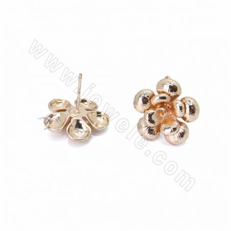 Brass Stud Earring Findings, Flower, Champagne Gold, Size 17x17mm, Pin 0.7mm, Hole 0.6mm, 60pcs/pack