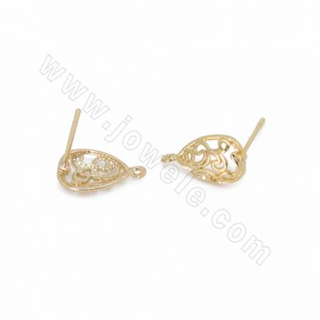 Brass Stud Earring Findings, Drop, Gold Plated, Size 13x8mm, Pin 0.7mm, Hole 0.7mm, 100pcs/pack