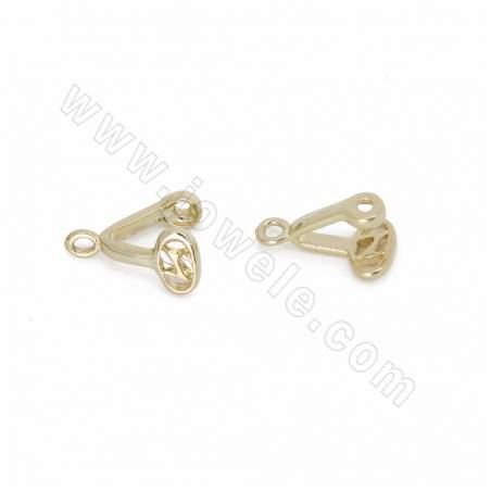 Brass Earring Pendant Findings, Gold Plated, Size 12x9mm, Hole 0.7mm, 100pcs/pack