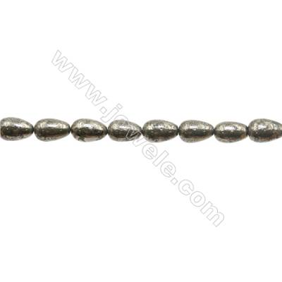 """Natural Pyrite Beads Strand  Teardrop   Size 8x12mm  Hole 1mm  about 33 beads/strand 15~16"""""""
