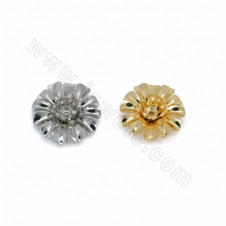 Brass Bead Caps, Flower, Size 14x14mm, Hole 0.7mm, 100pcs/pack, (White Gold, Gold) Plated