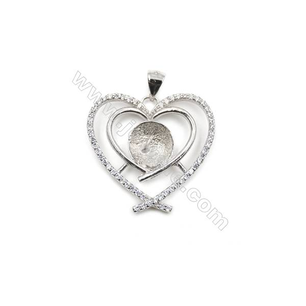 Sterling silver 925 platinum plated CZ heart-shaped pendant, 22x23 mm, x10 pcs, tray 9mm, needle 0.7mm
