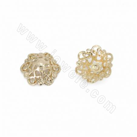 Brass Filigree Joiners, Flower, Real Gold Plated, Size 12x12mm, 150pcs/pack