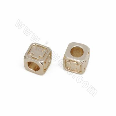 Brass Spacer Beads, Cube,...