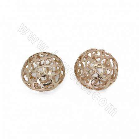 Brass Charms, Hollow, Champagne Gold, Size 18x25mm, 30pcs/pack
