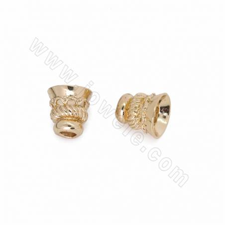 Brass Slide Charms, Bell, Champagne Gold, Size 10x10mm, Hole 3.5mm, 100pcs/pack