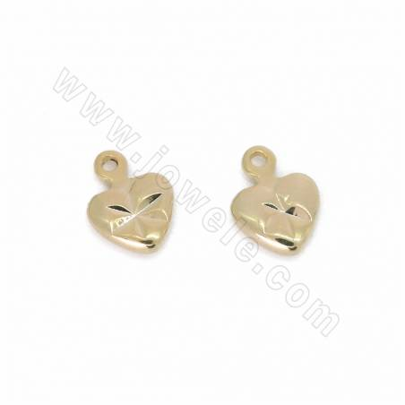 Brass Pendants, Heart, Gold Plated, Size 9x6mm, Hole 0.6mm, 300pcs/pack