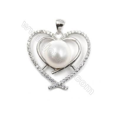 Sterling silver 925 platinum plated CZ heart-shaped pendant-D5548 22x23 mm x10 pcs disc diameter 9mm small needle diameter 0.7mm
