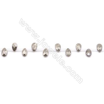 """Natural Pyrite Beads Strand  Faceted Flat Teardrop   Size 6x9mm  Hole 1mm  about 38 beads/strand 15~16"""""""