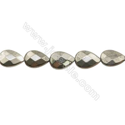 """Natural Pyrite Beads Strand Faceted Flat Teardrop   Size 13x18mm  Hole 1mm  about 22 beads/strand 15~16"""""""