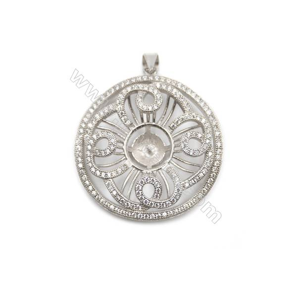 Sterling silver 925  platinum plated zircon pendant, 32x33mm, x 2 pcs, tray 7mm, needle 0.7mm
