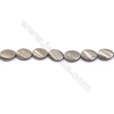 Natural Pyrite Beads Strand Twisted Oval   Size 13x18mm  Hole 1mm  about 22 beads/strand 15~16""