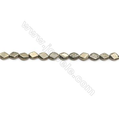 Natural Pyrite Beads Strand Faceted Oval   Size 6x8mm  Hole 1mm  about 50 beads/strand 15~16""