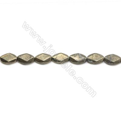 Natural Pyrite Beads Strand Faceted Oval   Size 10x16mm  Hole 1mm  about 24 beads/strand 15~16""