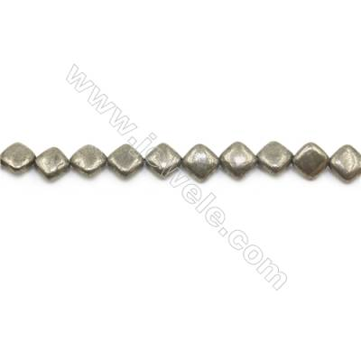 Natural Pyrite Beads Strand Flat Rhombus   Size 8x8mm  Hole 0.8mm  about 42 beads/strand 15~16""