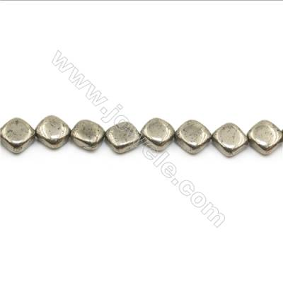 Natural Pyrite Beads Strand Faceted Rhombus   Size 10x10mm  Hole 0.8mm  about 36 beads/strand 15~16""