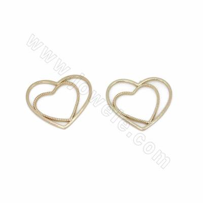 Brass Charms, Double Heart,...