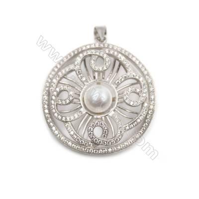 Sterling silver 925  platinum plated zircon pendant -D5635 32x33mm x 2 pcs disc diameter 7mm small needle diameter 0.7mm