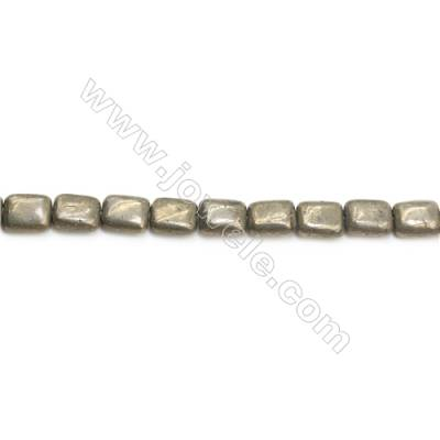Natural Pyrite Beads Strand Flat Square   Size 8x10mm  Hole 1mm  about 38 beads/strand 15~16""