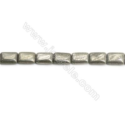 Natural Pyrite Beads Strand  Flat Square   Size 10x14mm  Hole 1mm  about 28 beads/strand 15~16""
