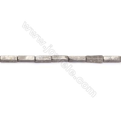 Natural Pyrite Beads Strand  Cuboid   Size 4x13mm  Hole 0.8mm  about 30 beads/strand 15~16""