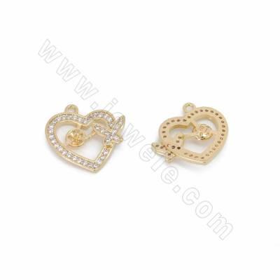 CZ Brass Pendants, Heart,...