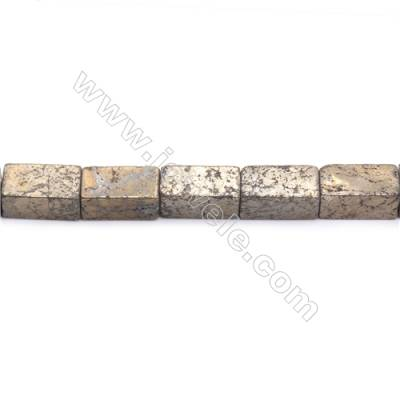 Natural Pyrite Beads Strand  Cuboid   Size 10x20mm  Hole 1mm  about 20 beads/strand 15~16""