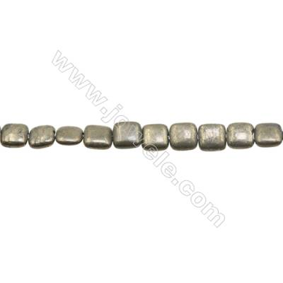 Natural Pyrite Beads Strand Flat Square   Size 8x8mm  Hole 0.8mm  about 49 beads/strand 15~16""