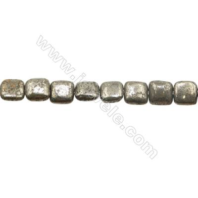 Natural Pyrite Beads Strand Flat Square   Size 12x12mm  Hole 1mm  about 32 beads/strand 15~16""