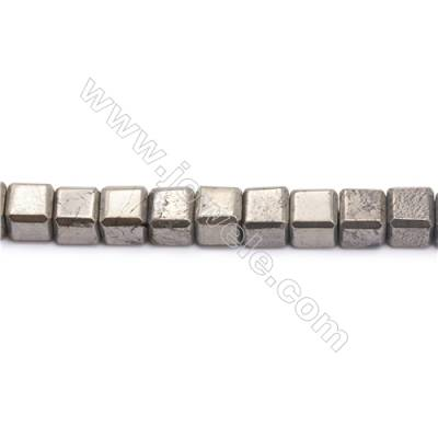 Natural Pyrite Beads Strand Flat Cube   Size 10x10mm  Hole 1mm  about 39 beads/strand 15~16""