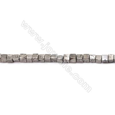 Natural Pyrite Beads Strand  Cube   Size 3x3mm  Hole 0.6mm  about 122 beads/strand 15~16""